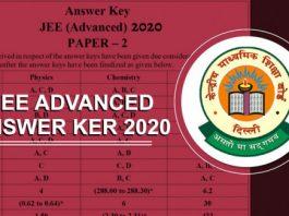JEE Advanced 2020 Answer Key 2020 Out
